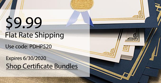 $9.99 Flat Rate Shipping | Shop Certificate Bundles