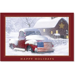 Vintage Truck with Flag Holiday Card