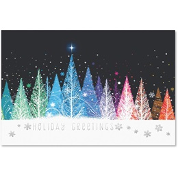 Colorful Treeline Deluxe Holiday Cards