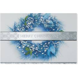 Blue Silver Wreath Deluxe Holiday Cards