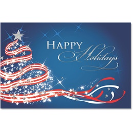 Patriotic Christmas Tree Deluxe Holiday Cards