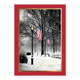 Patriotic Park Scene Deluxe Holiday Greeting Card