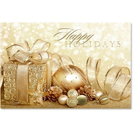Happy Holidays Gold Deluxe Holiday Cards