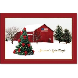 Patriotic Barn Scene Deluxe Holiday Cards