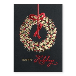 Stylish Holiday Wreath Deluxe Holiday Cards