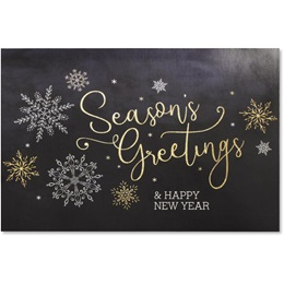 Season's Greeting Snowflakes Holiday Greeting Cards