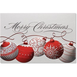 Red and Silver Ornaments Elite Holiday Cards