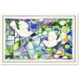 Stained Glass Doves Deluxe Holiday Boxed Cards