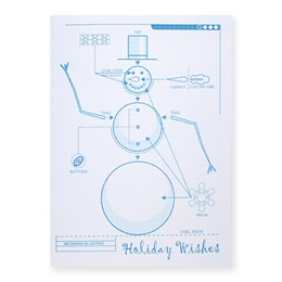 Snowman Blueprint Classic Greeting Card