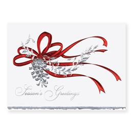 Pine Cone in Red Deluxe Holiday Greeting Card