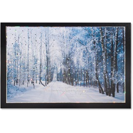Snowy Tree-lined Road Deluxe Greeting Card