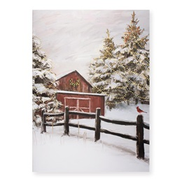 Snowy Barn Deluxe Greeting Card