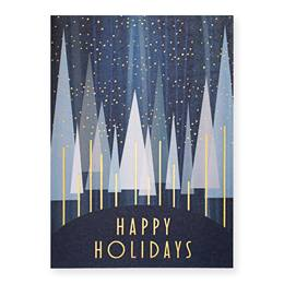 Happy Holidays Treeline Deluxe Greeting Card