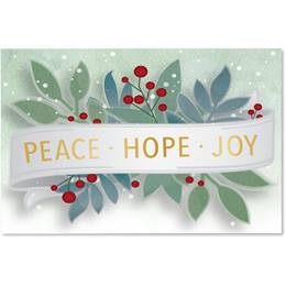 Peace, Hope, Joy Berry Holiday Greeting Cards