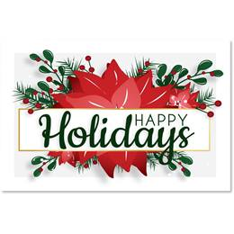 Happy Holiday Poinsettia Greeting Cards