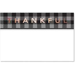 Black Plaid Thankful Greeting Card