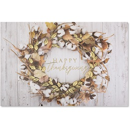 Rustic Autumn Wreath Holiday Card