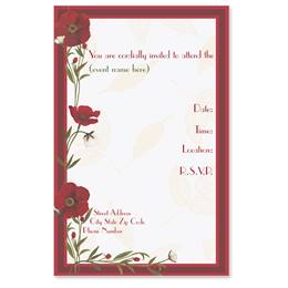 Red Poppies Casual Invitations