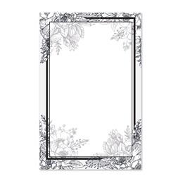 Black and White Floral Casual Invitation