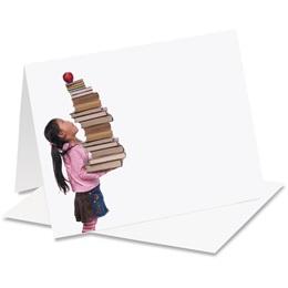 Girl Big Stack Books Notecards