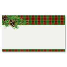 Traditional Plaid Flat Place Cards