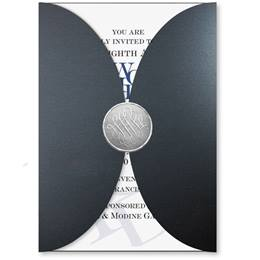 Modest Black Rounded Pocket Invitations