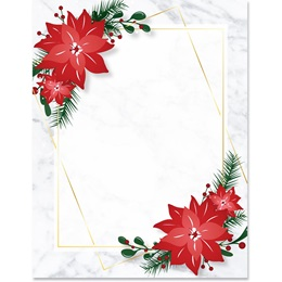 Happy Holiday Poinsettia Border Papers