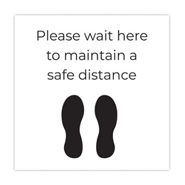 Please Wait Here to Maintain a Safe Distance Floor Decal
