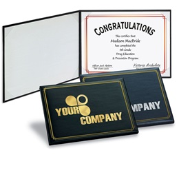 Custom Foil Border Gold Leatherette Certificate Holder