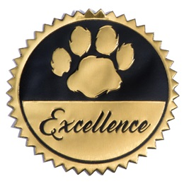 Gold and Black Excellence Paw Embossed Foil Seals