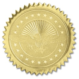 Eagle Embossed Gold Foil Certificate Seals