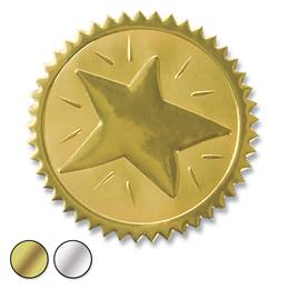 Star Embossed Foil Certificate Seals