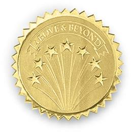 Above and Beyond Embossed Foil Certificate Seals
