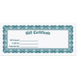 York Fill-In-The-Blank Gift Certificates