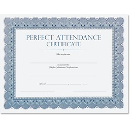 Perfect Attendance Traditional Blue Certificate