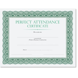 Traditional Perfect Attendance Certificates