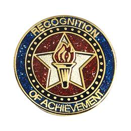 Recognition of Achievement Glitter Lapel Pin