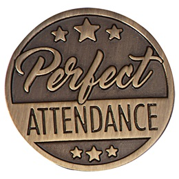 Metal Perfect Attendance Lapel Pins