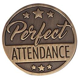 Metal Perfect Attendance Lapel Pins