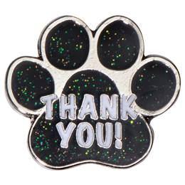 Thank You Black Glitter Paw Pin