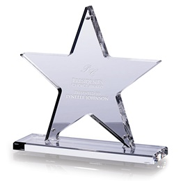 Star Kudos Acrylic Trophy with Custom Laser Engraving