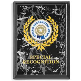 Black Marble Recognition Plaque with Sticker