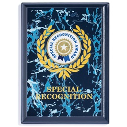 Blue Marble Recognition Plaque with Sticker