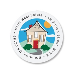 Happy House Round Address Labels