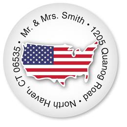 Custom USA Flag Round Address Labels
