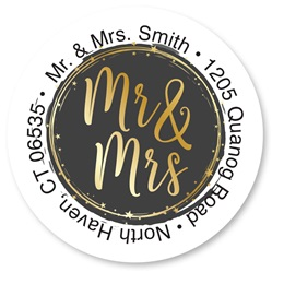 Custom Mr. & Mrs. Round Address Labels