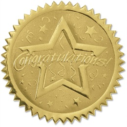 Congratulations Embossed Gold Foil Seals