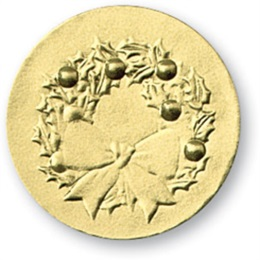 Holly Wreath Gold Embossed Foil Seals