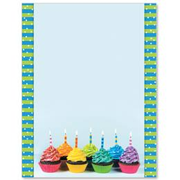 Rainbow Cupcakes Border Papers