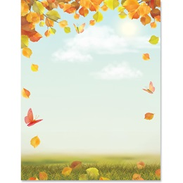 Blue Autumn Border Papers
